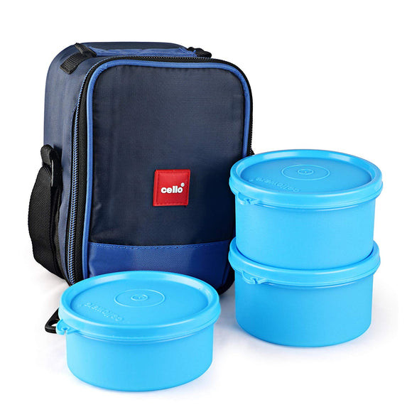 Cello Max Fresh Joy Plastic Lunch Box Set, 3-Pieces, Blue