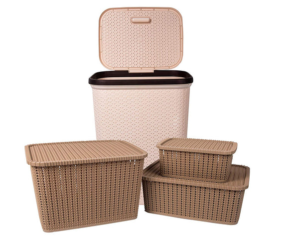 IncredibleThings Laundry Basket with lid and 3 Pc Storage Baskets with Lid Combo, Beige