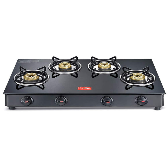 Prestige Magic 4 Burner Gas Stove- GTMC 04 L, Black Colour