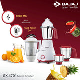 Bajaj GX 4701 800 Watts Mixer Grinder with 4 Jars (White & Red)