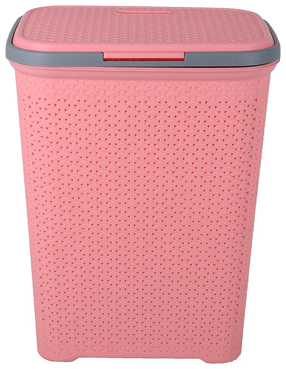 IncredibleThings Plastic Laundry Basket with Lid for Clothes(Pink)