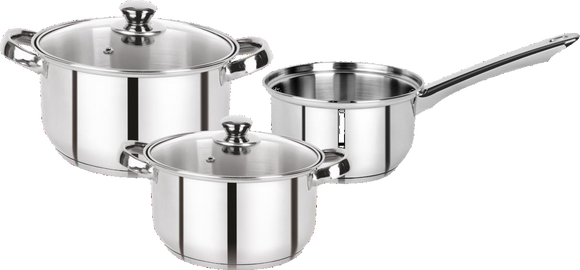Bergner Acier Stainless Steel Cookware Set with Lid, Casserole and Sauce Pan Set