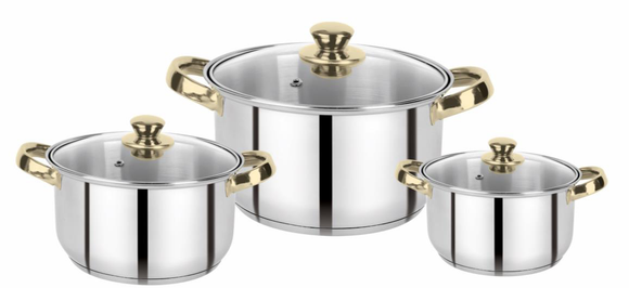 Bergner Acier Stainless Steel with Cookware Set with Lid, 3 Pcs Casserole Set