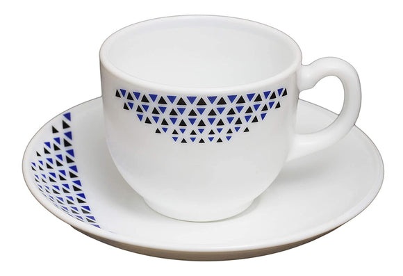 Cello Copa Opalware Cup Saucer Set, 12 Pcs (Mad Angles)