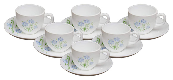 Cello Copa Opalware Cup Saucer Set, 12 Pcs (Spring Bloom)