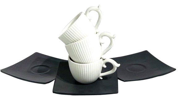 Hi-Luxe Digital Printed Cup & Saucer, Grey White, Set of 6