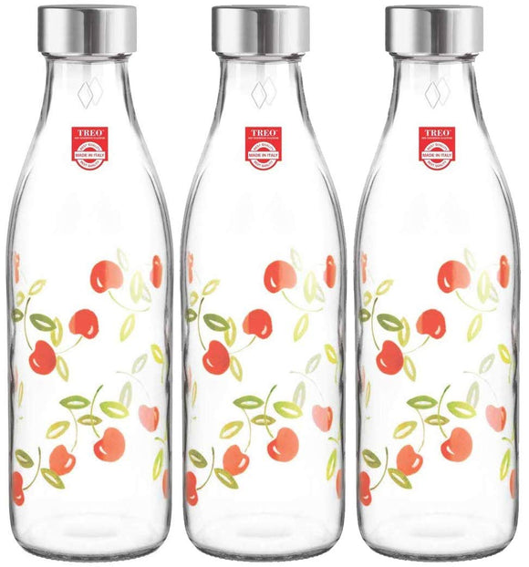 Treo by Milton Ivory Premium Glass Printed Bottle 1000 ml, Set of 3 (Cherries)