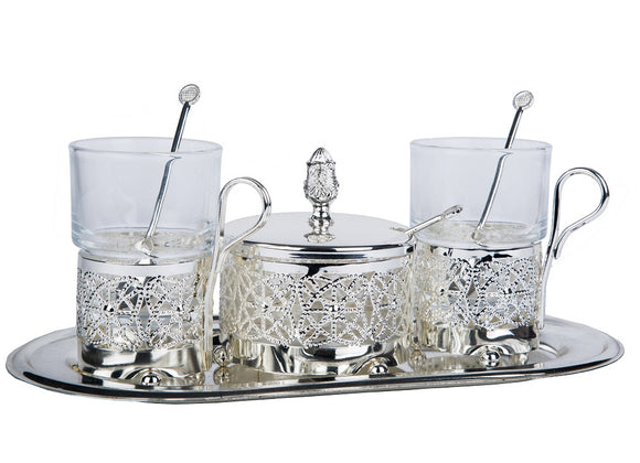 Silver Tray with Glass Jars