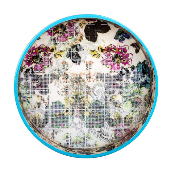 IncredibleThings White Floral-Printed Round Tray ( 1 Pc )
