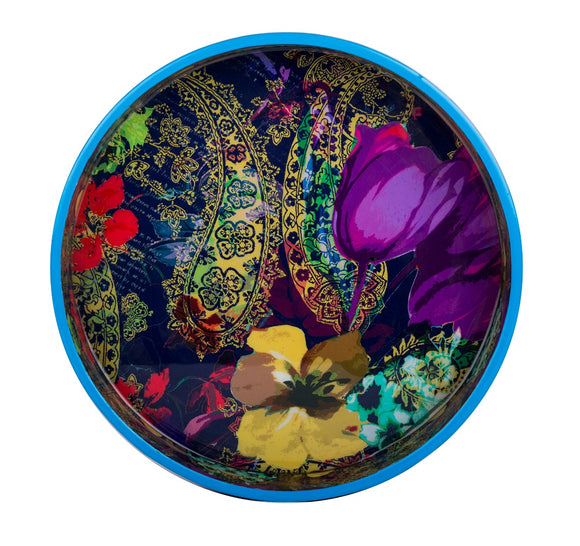 IncredibleThings Floral-Printed Multicolor Round Tray ( 1 Pc )