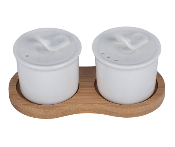 IncredibleThings White Ceramic Salt-Pepper Mill with Wooden Tray ( 2 Pcs )