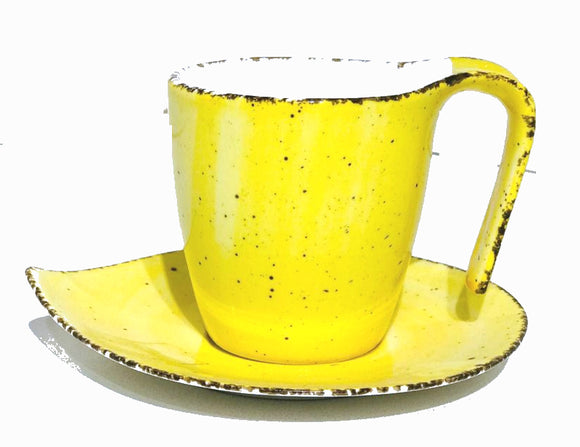 Hi-Luxe Cup Saucer Set, Yellow , Set Of 6