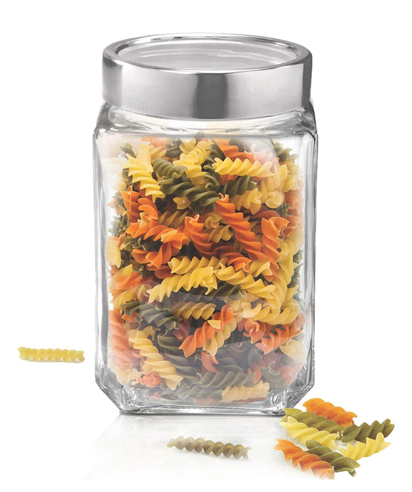Treo by Milton Cube Storage Glass Jar, 1800 ml, Transparent
