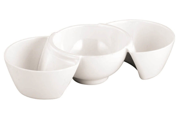 Dinewell Trio Dish 3 Part Sauce Dip, White