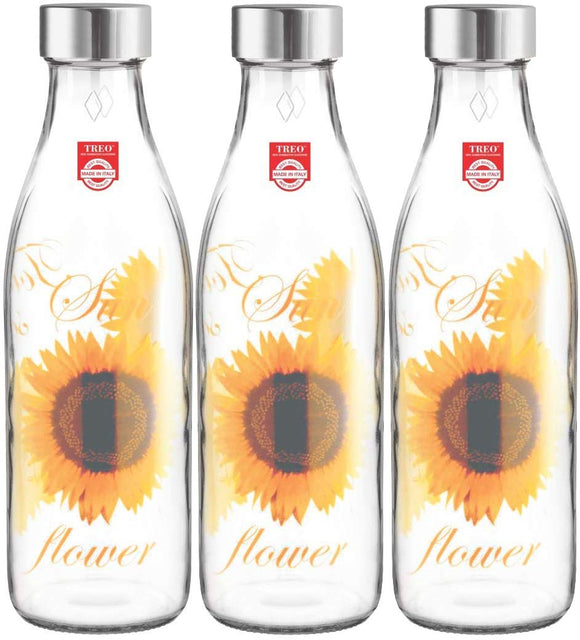 Treo by Milton Ivory Premium Glass Printed Bottle 1000 ml, Set of 3 (Yellow Floral)