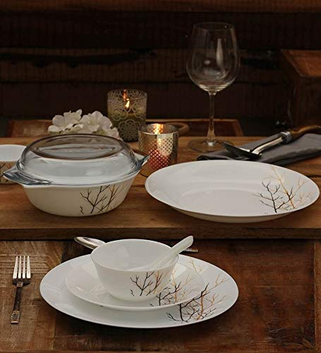 LaOpala Diva Opalware White Golden Fall Dinner-Set of 35 Pieces