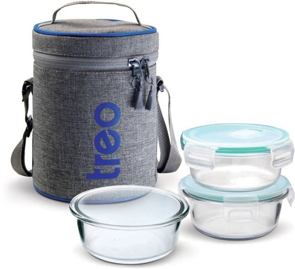 Treo All Fresh Borosilicate Glass Tiffin 3 Containers