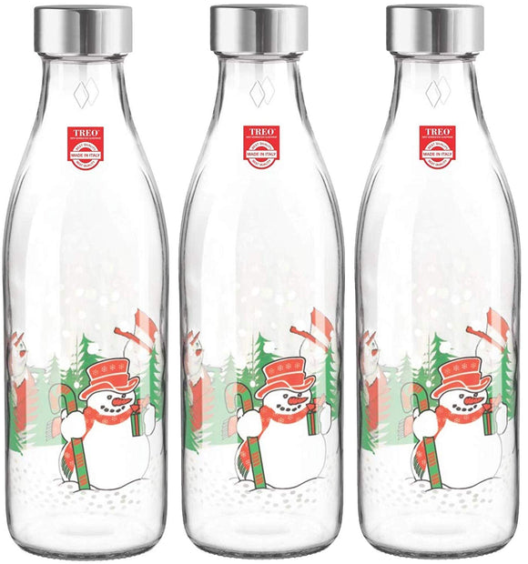 Ivory Premium Glass Printed Bottle 1000 ml, Set of 3 (Snowman)