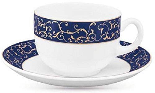 Diva from La Opala Anassa Blue Sovrana Collection Opalware Cup And Saucer Set, 6 Pieces, White