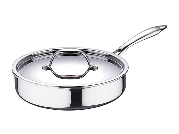 Bergner Argent Stainless Steel Saute Pan with Lid, 22 cm