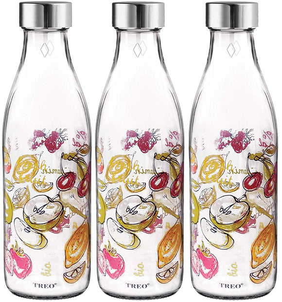 MILTON Treo Ivory Premium Glass Printed Bottle 1000 ml, Set of 3 (Words)
