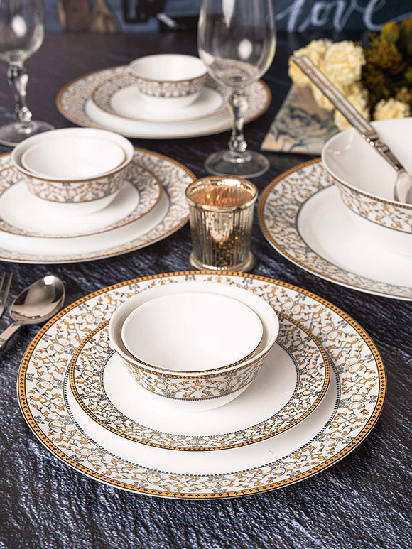 LaOpala Sovrana Moroccan Gold Dinner Set (Set of 33pcs)