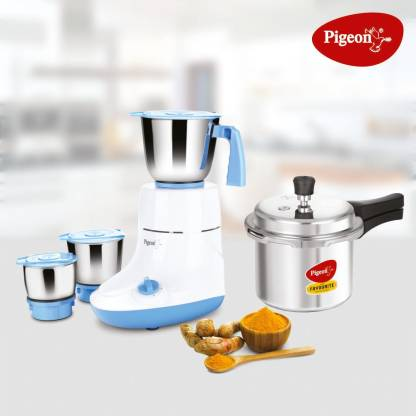 Pigeon Mixer Combo Glory 550 W Mixer Grinder (Multicolor, 3 Jars) with 3 Ltr Pressure Cooker