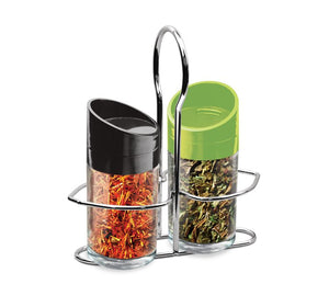 TREO SALT N PAPPER JAR WITH STAND