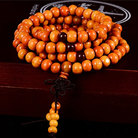 Natural Sandalwood Beaded Knot Mala Bracelet