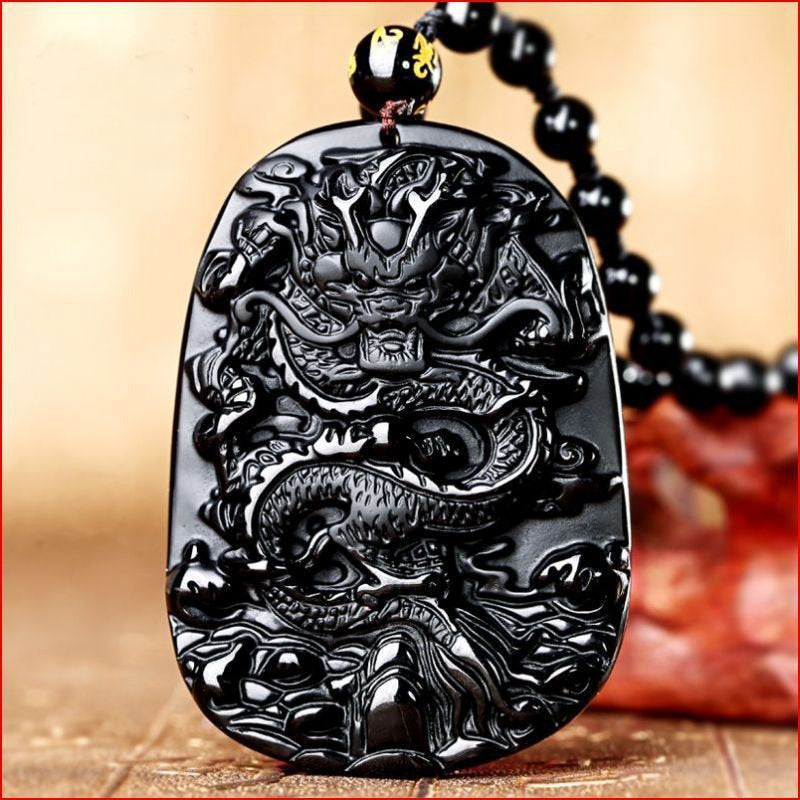 Obsidian Dragon Mala Necklace