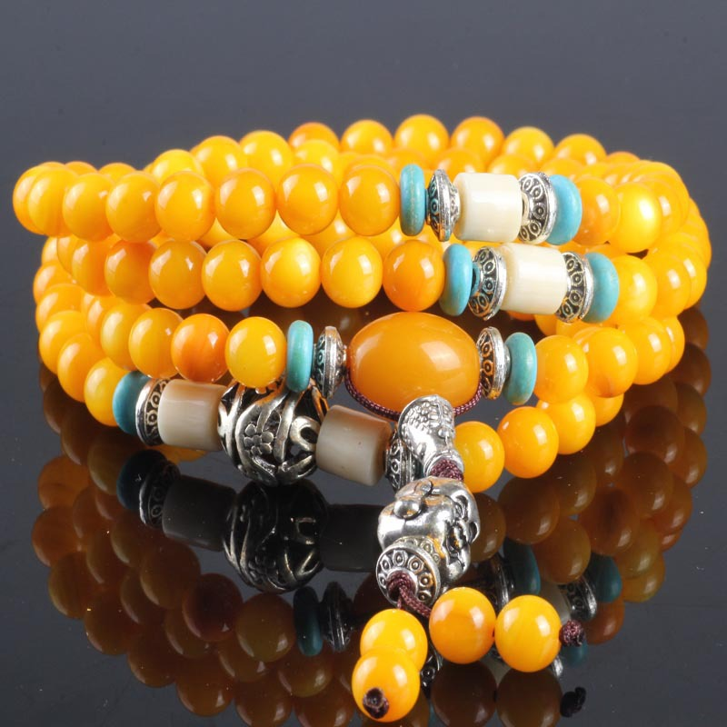 Natural  Yellow Jade Japa Mala Bracelet