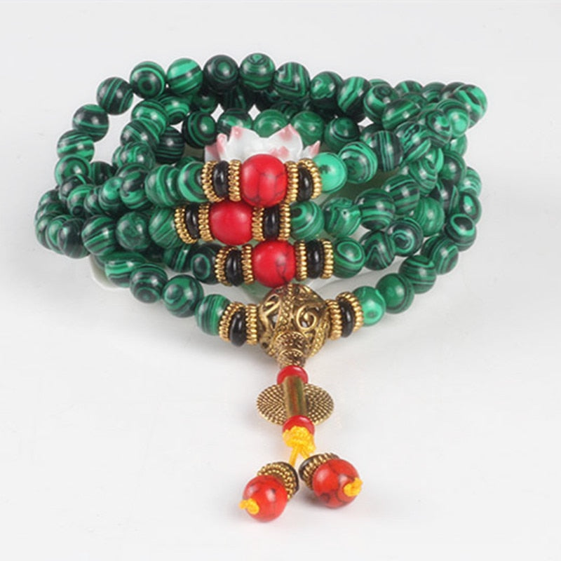 Natural Malachite Prayer Mala Bracelet