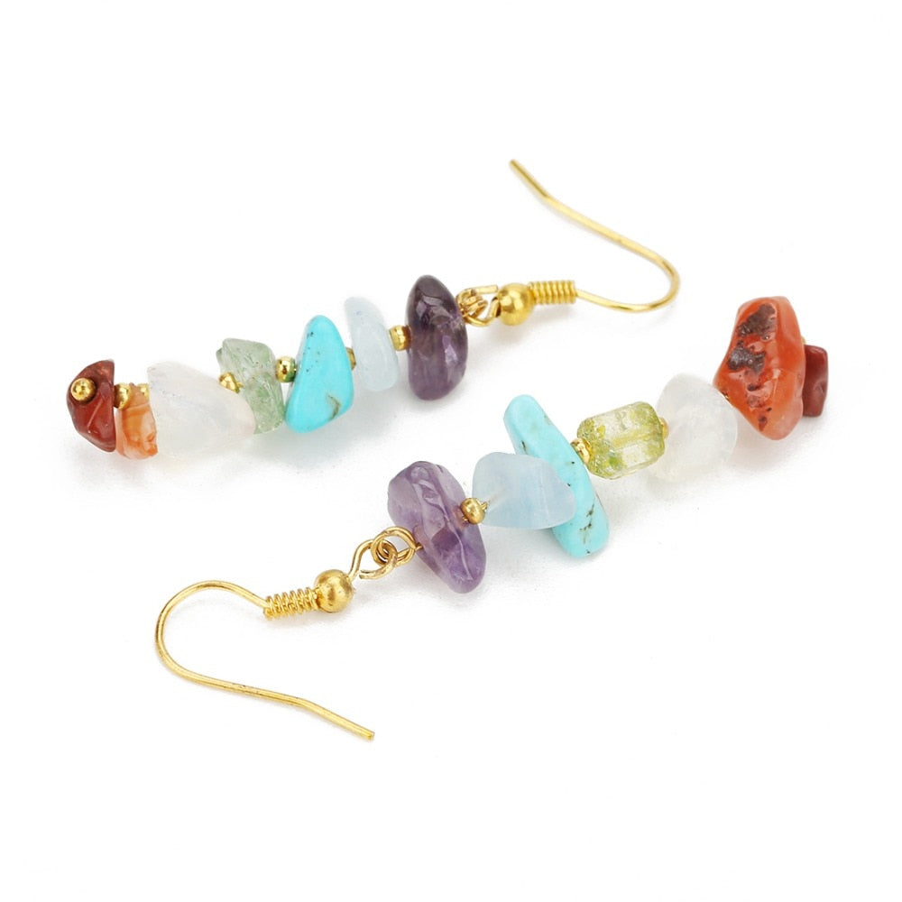7 Chakra Beads Drop Earrings