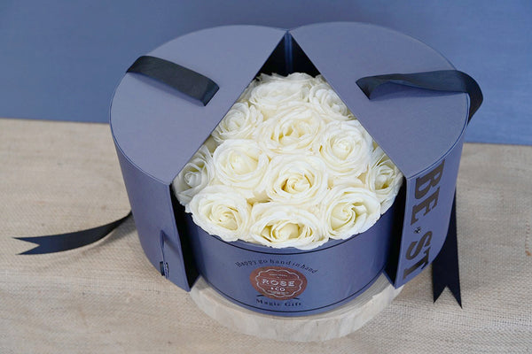 White Roses in Round Hat  Box