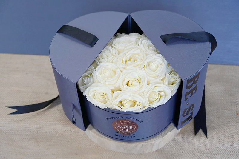 White Roses in Round Box