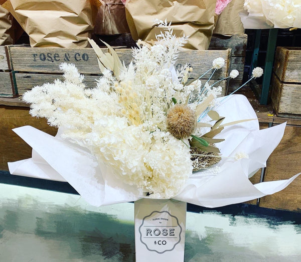 White preserved flower arrangement