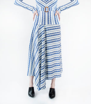 Deep See Stripe: Cascade Pleat Skirt
