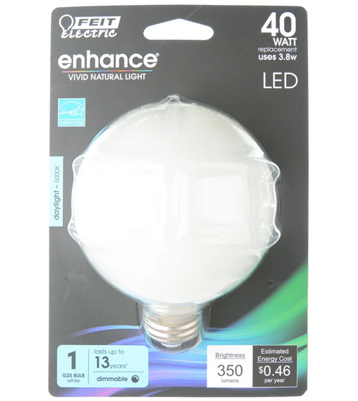Feit Electric LED Globe G25 40W Equivalent - 350 Lumens - Filament White Glass - Medium- 5000K CEC Compliant Bulb (BPG2540W/950CAFIL/RP)