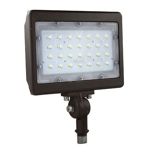 Best Lighting Products Standard 30 Watt LED Flood Light with Knuckle Mount - 5000K 120V-277V 3,432 Lumens Bronze Fixture (LEDMPALPRO30-K-5K)