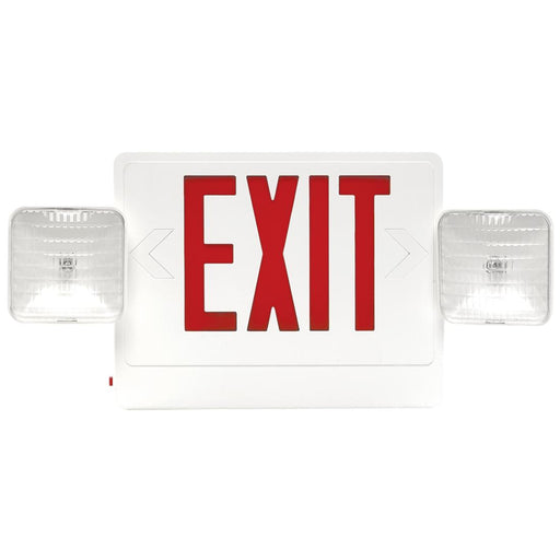 Best Lighting Products LED Double Faced White Exit/Emergency Combo with Red Letters - Remote Head Capable, Incandescent Lamp Heads and Battery Backup (CXTEU2RW-RC)