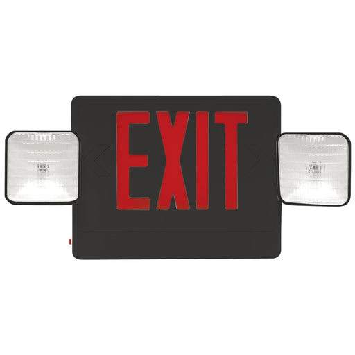 Best Lighting Products LED Double Faced Black Exit/Emergency Combo with Red Letters - Incandescent Lamp Heads and Battery Backup (CXTEU2RB)