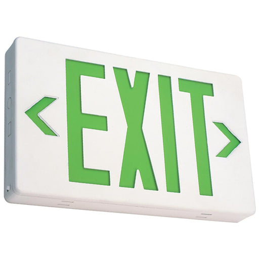 Best Lighting Products LED Double Faced White Exit Sign with Green Letters - Battery Backup (EZXTEU2GW-EM)