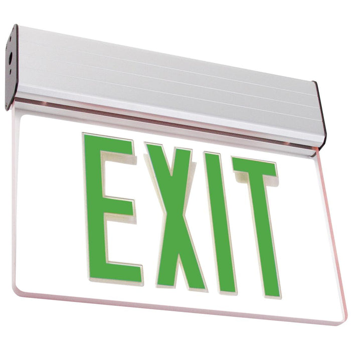 Best Lighting Products LED Single Faced Clear Edge Lit Exit Sign with Green Letters - Battery Backup (ELXTEU1GCAEM)