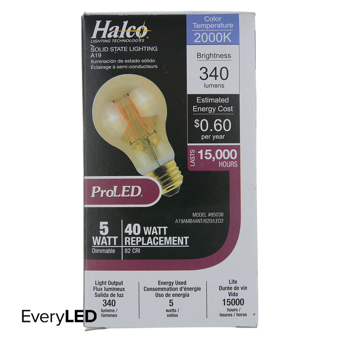 Halco 85038 A19 120V 5.5W 2700K E26 Frosted PROLED (A19AMB4ANT/827/LED2)