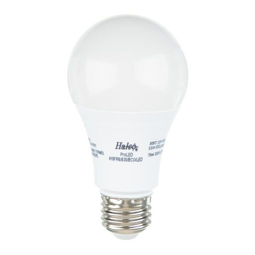 Halco 80972 6 Watt LED A19 3000K 120V 82 CRI Medium (E26) Base Frost Bulb (A19FR6/830/ECO/LED)