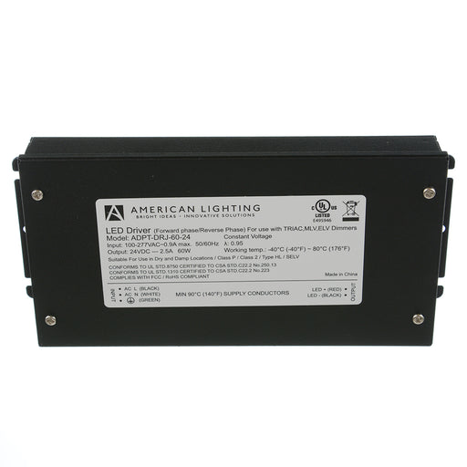 American Lighting 24Vdc 60W Phase Cut Constant Voltage Driver With Junction And 3/8 Inch Cable Clamp (ADPT-DRJ-60-24)
