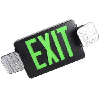 Best Lighting Products LED Double Faced Black Exit/Emergency Combo with Green Letters - LED Lamp Heads and Battery Backup (LEDCXTEU2GB)