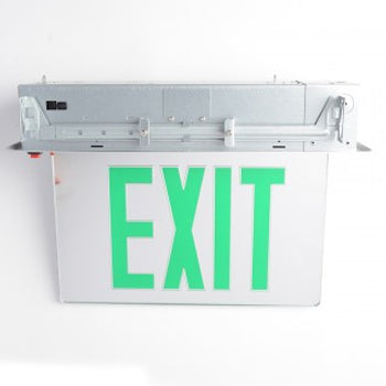 Best Lighting Products LED Double Faced MIRROR Recessed Edge Lit Exit Sign With Green Letters - Battery Backup (RELZXTE2GMAEM)
