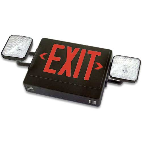 Best Lighting Products LED Exit/Emergency Combo Fixture Black with Red Lettering 120/277V (LEDCXTEU2RB)