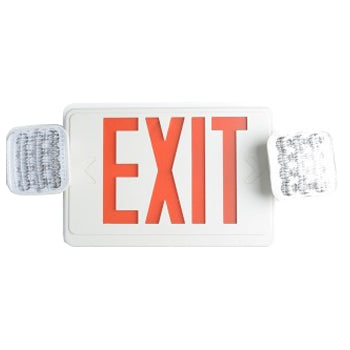 Best Lighting Products LED Exit/Emergency Combo Fixture White with Red Lettering, Remote Head Capable, Self Diagnostic Testing Unit 120/277V (LEDCXTEU-2-R-W-RC-SDT)